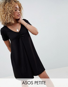 photo Ruched Front Swing Dress by ASOS DESIGN Petite, color Black - Image 1