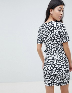 photo Mini Dress with Wrap Skirt in Animal Print by ASOS DESIGN Petite, color Multi - Image 2
