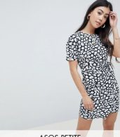 photo Mini Dress with Wrap Skirt in Animal Print by ASOS DESIGN Petite, color Multi - Image 1