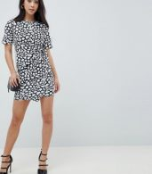 photo Mini Dress with Wrap Skirt in Animal Print by ASOS DESIGN Petite, color Multi - Image 4