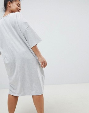 photo Boyfriend t-shirt Dress with Pocket by ASOS DESIGN Curve, color Grey Marl - Image 2
