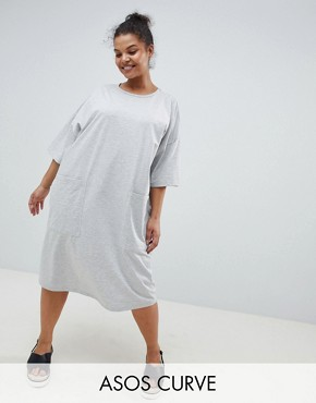 photo Boyfriend t-shirt Dress with Pocket by ASOS DESIGN Curve, color Grey Marl - Image 1