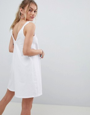 photo Knot Strap Mini Swing Dress by ASOS DESIGN Petite, color White - Image 2