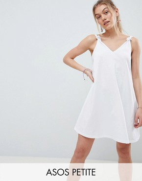 photo Knot Strap Mini Swing Dress by ASOS DESIGN Petite, color White - Image 1