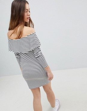 photo Long Sleeve Bardot Bodycon Dress in Stripe by ASOS DESIGN Petite, color Multi - Image 2