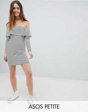 photo Long Sleeve Bardot Bodycon Dress in Stripe by ASOS DESIGN Petite, color Multi - Image 1