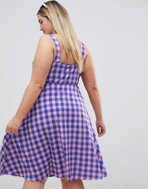 photo Button Through Skater Midi Dress in Bright Gingham Print by ASOS DESIGN Curve, color Multi - Image 2