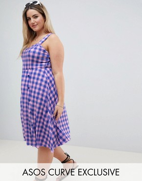 photo Button Through Skater Midi Dress in Bright Gingham Print by ASOS DESIGN Curve, color Multi - Image 1
