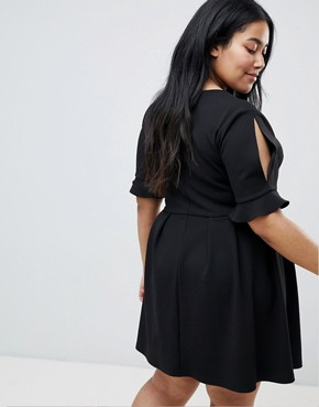 photo Mini V-Neck Smock Dress with Frill Cuff by ASOS DESIGN Curve, color Black - Image 2