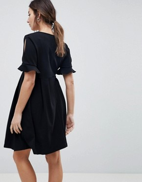 photo Maternity Mini V-Neck Smock Dress with Frill Cuff by ASOS DESIGN, color Black - Image 2