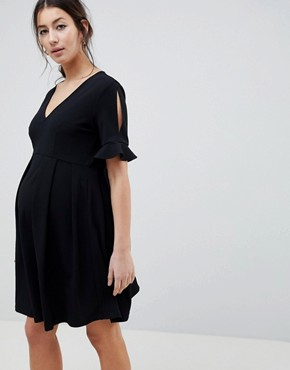 photo Maternity Mini V-Neck Smock Dress with Frill Cuff by ASOS DESIGN, color Black - Image 1