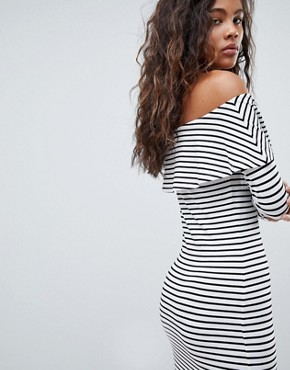 photo Long Sleeve Bardot Bodycon Dress in Stripe by ASOS DESIGN Tall, color Multi - Image 2