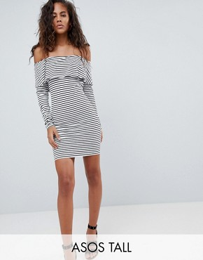photo Long Sleeve Bardot Bodycon Dress in Stripe by ASOS DESIGN Tall, color Multi - Image 1