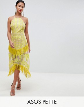 photo Embroidered Square Neck Fringe Hem Midi Dress by ASOS DESIGN Petite, color Yellow/Nude - Image 1