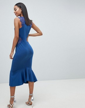 photo Scuba Lace Insert Pephem Midi Dress by ASOS DESIGN Tall, color Cobalt - Image 2