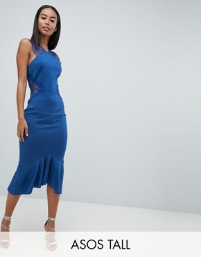 photo Scuba Lace Insert Pephem Midi Dress by ASOS DESIGN Tall, color Cobalt - Image 1