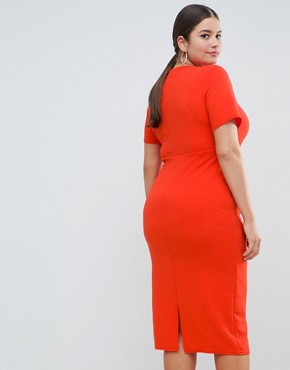 photo Square Neck Bodycon Midi Dress by ASOS DESIGN Curve, color Red - Image 2