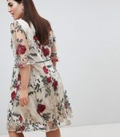 photo Wrap Front Allover Floral Embroidered Skater Dress by Lovedrobe, color Multi - Image 2