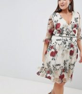 photo Wrap Front Allover Floral Embroidered Skater Dress by Lovedrobe, color Multi - Image 4