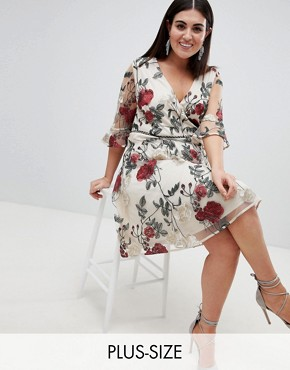 photo Wrap Front Allover Floral Embroidered Skater Dress by Lovedrobe, color Multi - Image 1