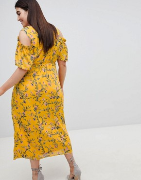 photo Cold Shoulder Midi Dress in Bright Floral Print by Lovedrobe, color Multi Floral - Image 2
