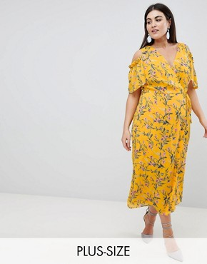 photo Cold Shoulder Midi Dress in Bright Floral Print by Lovedrobe, color Multi Floral - Image 1