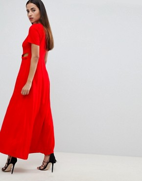 photo Button Through Maxi Dress by ASOS DESIGN, color Red - Image 2