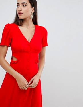 photo Button Through Maxi Dress by ASOS DESIGN, color Red - Image 3