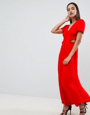 photo Button Through Maxi Dress by ASOS DESIGN, color Red - Image 4