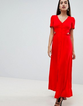 photo Button Through Maxi Dress by ASOS DESIGN, color Red - Image 1