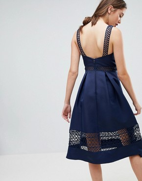 photo Structured Midi Dress with Lace Inserts by Chi Chi London Tall, color Navy - Image 2