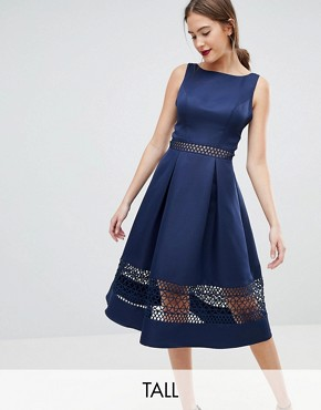 photo Structured Midi Dress with Lace Inserts by Chi Chi London Tall, color Navy - Image 1