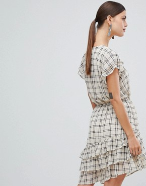 photo Sachecky Skater Dress by Y.A.S, color Cream Check - Image 2