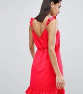 photo Wrap Cami Dress with Ruffle Detail by Vila, color Red - Image 2
