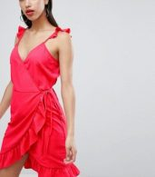 photo Wrap Cami Dress with Ruffle Detail by Vila, color Red - Image 1
