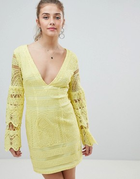 photo V-Neck Lace Mini Dress by PrettyLittleThing, color Yellow - Image 1