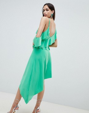 photo Asymmetric Ruffle Soft Midi Dress by ASOS DESIGN, color Green - Image 2