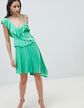 photo Asymmetric Ruffle Soft Midi Dress by ASOS DESIGN, color Green - Image 1
