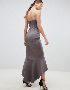 photo Bandeau Midiaxi Dress with Peplum Hem by AX Paris, color Pewter - Image 2