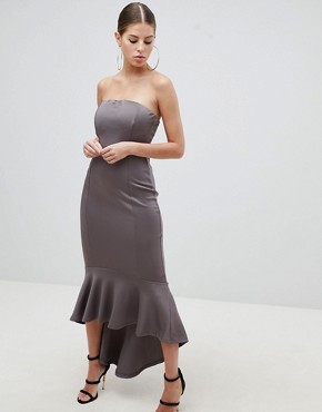photo Bandeau Midiaxi Dress with Peplum Hem by AX Paris, color Pewter - Image 1