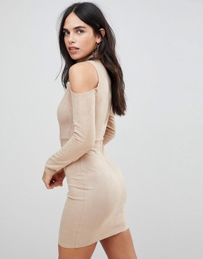 photo Cold Shoulder Long Sleeve Bodycon Dress by AX Paris, color Stone - Image 2