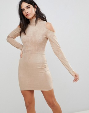 photo Cold Shoulder Long Sleeve Bodycon Dress by AX Paris, color Stone - Image 1