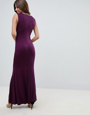 photo Slinky Maxi Dress with Lace Detail by AX Paris, color Plum - Image 2