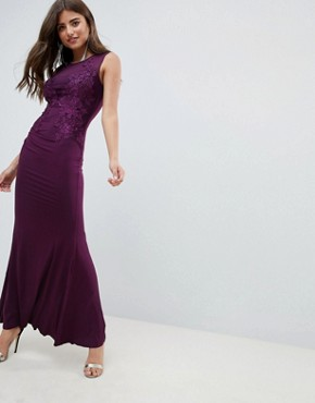 photo Slinky Maxi Dress with Lace Detail by AX Paris, color Plum - Image 1