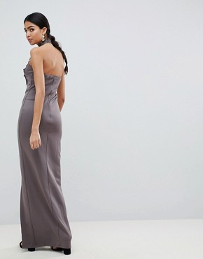 photo Maxi Dress with Lace Detail & Side Split by AX Paris, color Pewter - Image 2