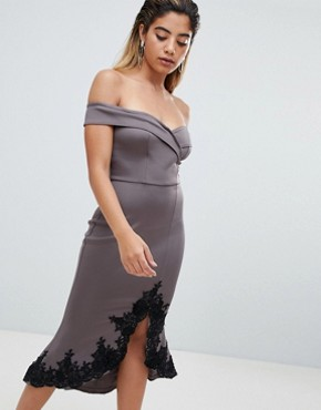 photo Off Shoulder Midi Dress with Lace Detail by AX Paris, color Pewter - Image 1