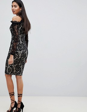 photo Long Sleeve Lace Pencil Dress with Cold Shoulder by AX Paris, color Multi - Image 2