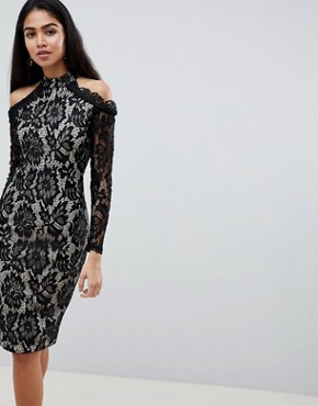 photo Long Sleeve Lace Pencil Dress with Cold Shoulder by AX Paris, color Multi - Image 1