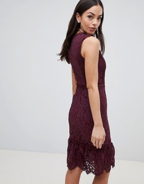 photo Lace Midi Dress by AX Paris, color Plum - Image 2