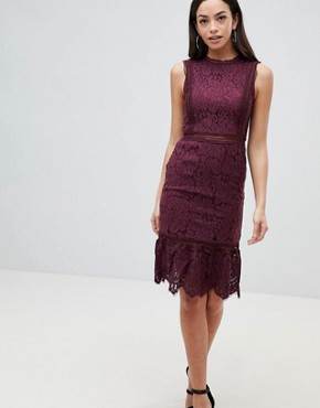 photo Lace Midi Dress by AX Paris, color Plum - Image 1